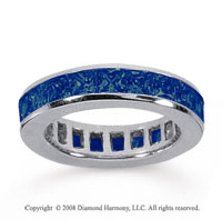 3 Carat Sapphire 14k White Gold Princess Channel Eternity Band