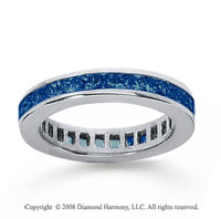 1 Carat Sapphire 18k White Gold Princess Channel Eternity Band