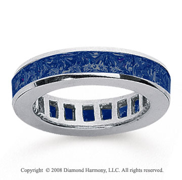 2 1/2 Carat Sapphire 18k White Gold Princess Channel Eternity Band