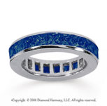 4 Carat Sapphire 18k White Gold Princess Channel Eternity Band