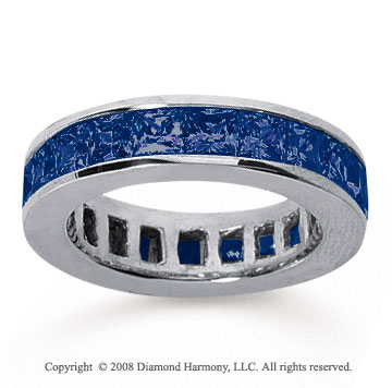 4 3/4 Carat Sapphire 18k White Gold Princess Channel Eternity Band