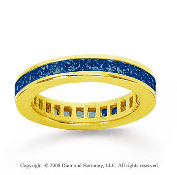1 1/2 Carat Sapphire 14k Yellow Gold Princess Channel Eternity Band