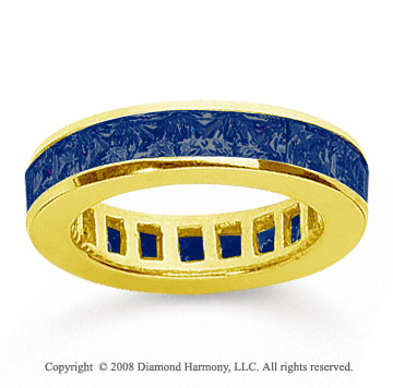 2 1/2 Carat Sapphire 14k Yellow Gold Princess Channel Eternity Band