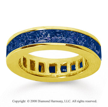 4 3/4 Carat Sapphire 14k Yellow Gold Princess Channel Eternity Band