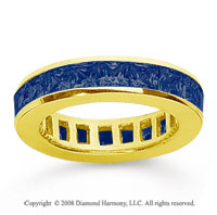 2 Carat Sapphire 18k Yellow Gold Princess Channel Eternity Band