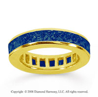 4 Carat Sapphire 18k Yellow Gold Princess Channel Eternity Band