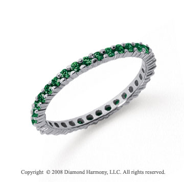 1/2 Carat Emerald Platinum Round Eternity Band