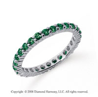 3/4 Carat Emerald Platinum Round Eternity Band