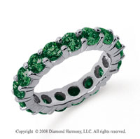 3 1/2 Carat Emerald Platinum Round Eternity Band