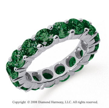 5 Carat Emerald Platinum Round Eternity Band