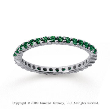 1/2 Carat Emerald 14k White Gold Round Eternity Band