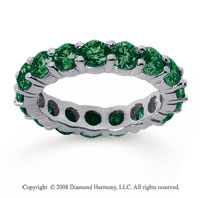 3 1/2 Carat Emerald 14k White Gold Round Eternity Band