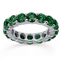 5 Carat Emerald 14k White Gold Round Eternity Band