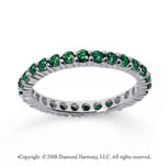 3/4 Carat Emerald 18k White Gold Round Eternity Band