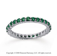 1 Carat Emerald 18k White Gold Round Eternity Band