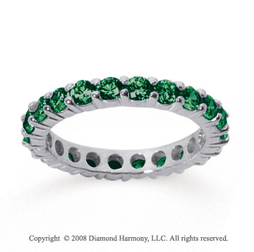 1 1/2 Carat Emerald 18k White Gold Round Eternity Band