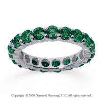 3 Carat Emerald 18k White Gold Round Eternity Band