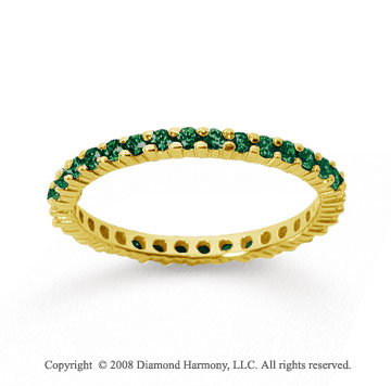 1/2 Carat Emerald 14k Yellow Gold Round Eternity Band