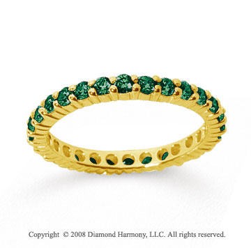 1 Carat Emerald 14k Yellow Gold Round Eternity Band