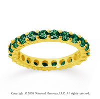 2 1/2 Carat Emerald 14k Yellow Gold Round Eternity Band