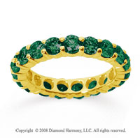 3 Carat Emerald 14k Yellow Gold Round Eternity Band