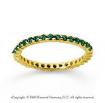 1/2 Carat Emerald 18k Yellow Gold Round Eternity Band