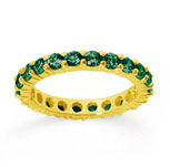 1 1/2 Carat Emerald 18k Yellow Gold Round Eternity Band