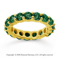 3 1/2 Carat Emerald 18k Yellow Gold Round Eternity Band