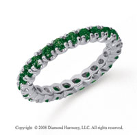 1 Carat  Emerald Platinum Round Four Prong Eternity Band