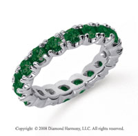2 Carat  Emerald Platinum Round Four Prong Eternity Band