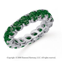 3 Carat  Emerald Platinum Round Four Prong Eternity Band