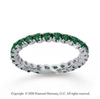 3/4 Carat  Emerald 14k White gold Round Four Prong Eternity Band
