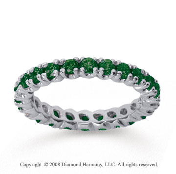 1 Carat  Emerald 14k White gold Round Four Prong Eternity Band