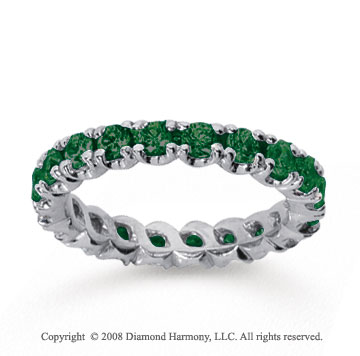 1 1/2 Carat  Emerald 14k White gold Round Four Prong Eternity Band