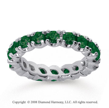 2 1/2 Carat  Emerald 14k White gold Round Four Prong Eternity Band