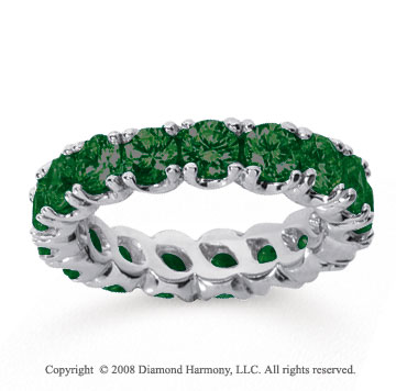 3 Carat  Emerald 14k White gold Round Four Prong Eternity Band
