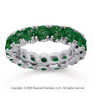 4 1/2 Carat  Emerald 14k White gold Round Four Prong Eternity Band