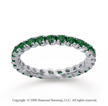 3/4 Carat  Emerald 18k White gold Round Four Prong Eternity Band