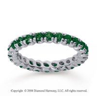 1 Carat  Emerald 18k White gold Round Four Prong Eternity Band
