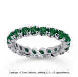 1 1/2 Carat  Emerald 18k White gold Round Four Prong Eternity Band