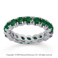 2 1/2 Carat  Emerald 18k White gold Round Four Prong Eternity Band