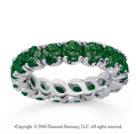 3 1/2 Carat  Emerald 18k White gold Round Four Prong Eternity Band