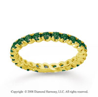 3/4 Carat  Emerald 14k Yellow gold Round Four Prong Eternity Band