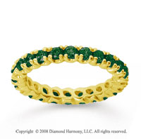 1 Carat  Emerald 14k Yellow gold Round Four Prong Eternity Band