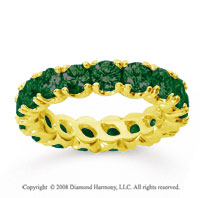 3 Carat  Emerald 14k Yellow gold Round Four Prong Eternity Band
