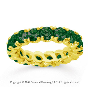 3 1/2 Carat  Emerald 14k Yellow gold Round Four Prong Eternity Band