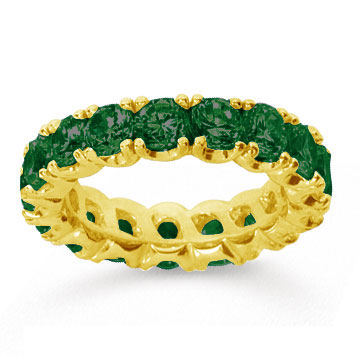4 1/2 Carat  Emerald 14k Yellow gold Round Four Prong Eternity Band