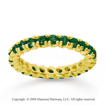 1 Carat  Emerald 18k Yellow gold Round Four Prong Eternity Band