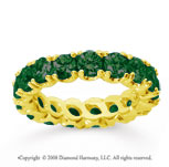 3 Carat  Emerald 18k Yellow gold Round Four Prong Eternity Band