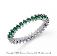 3/5 Carat Emerald Platinum Round Open Prong Eternity Band